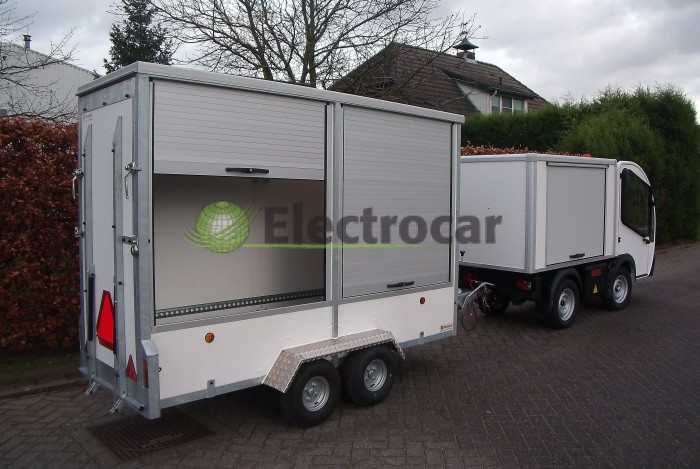 Electrocar Goupil G3 Elektrotruck met container-trailer